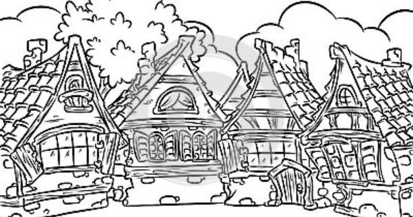 Village coloring #16, Download drawings