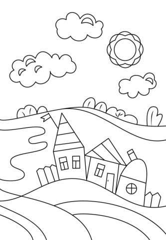 Village coloring #14, Download drawings