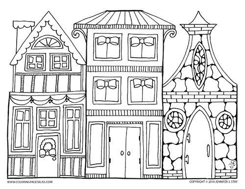 Village coloring #9, Download drawings
