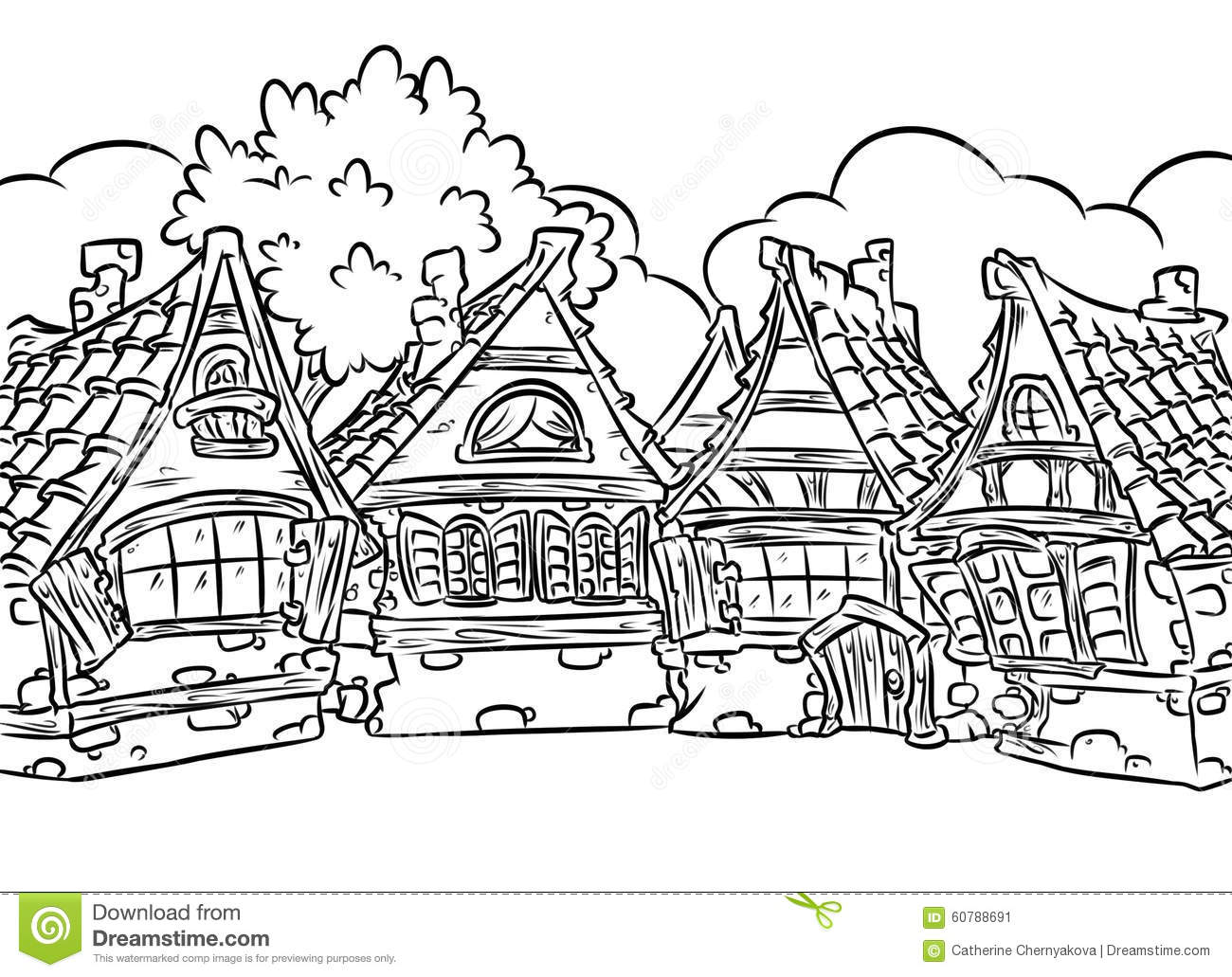 christmas village houses coloring pages - photo#15