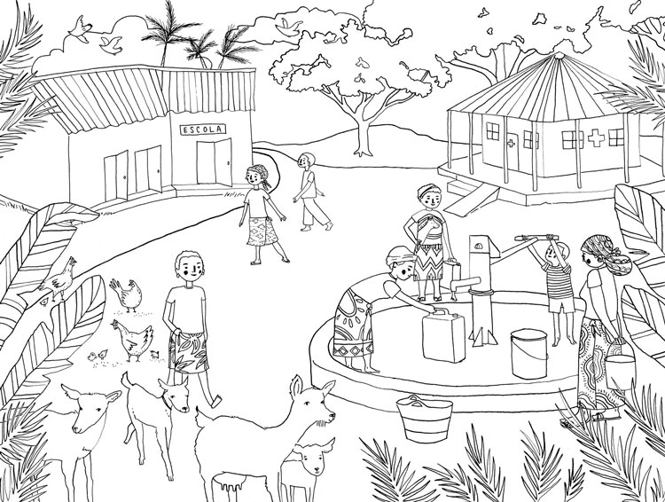 African Village Coloring Pages