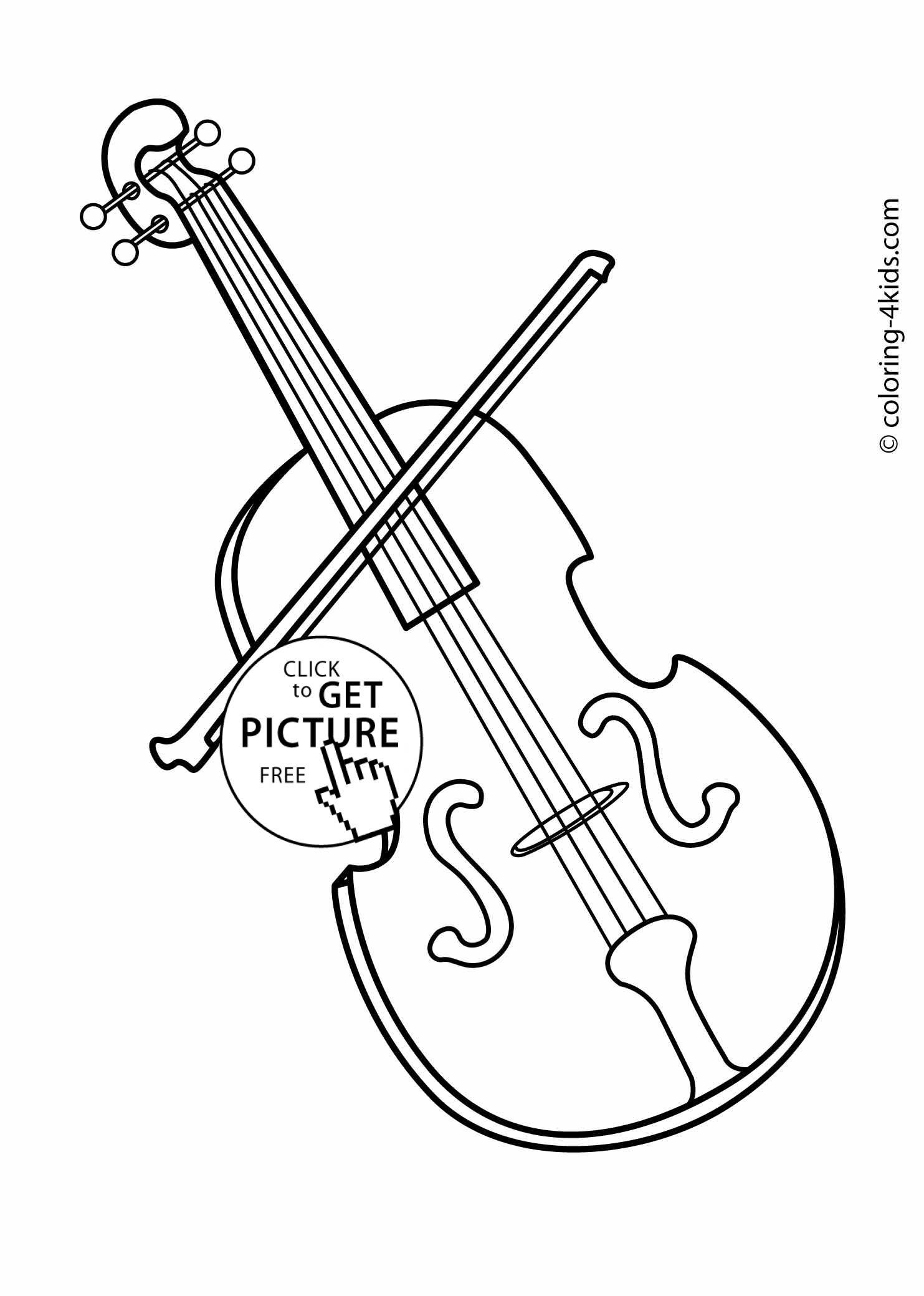 Violin coloring #15, Download drawings