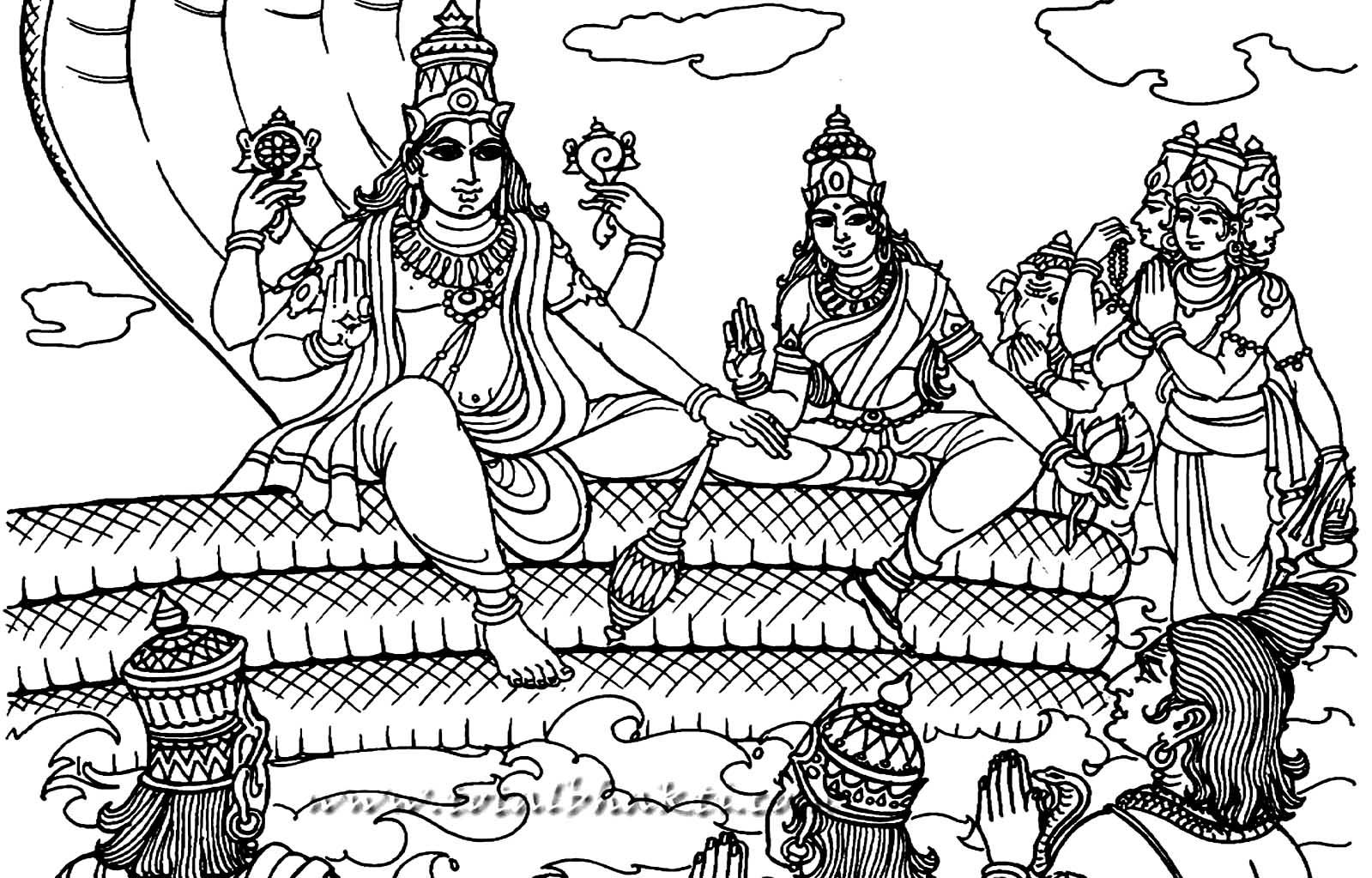 Vishnu coloring #5, Download drawings