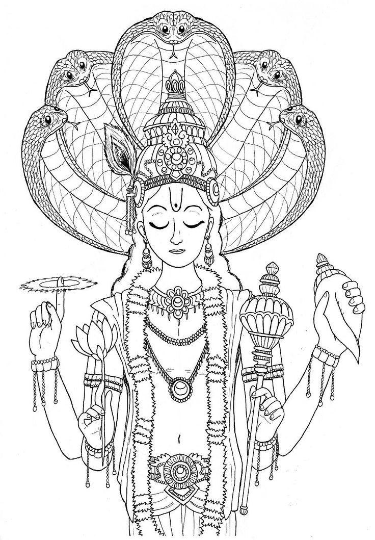 Vishnu coloring #15, Download drawings