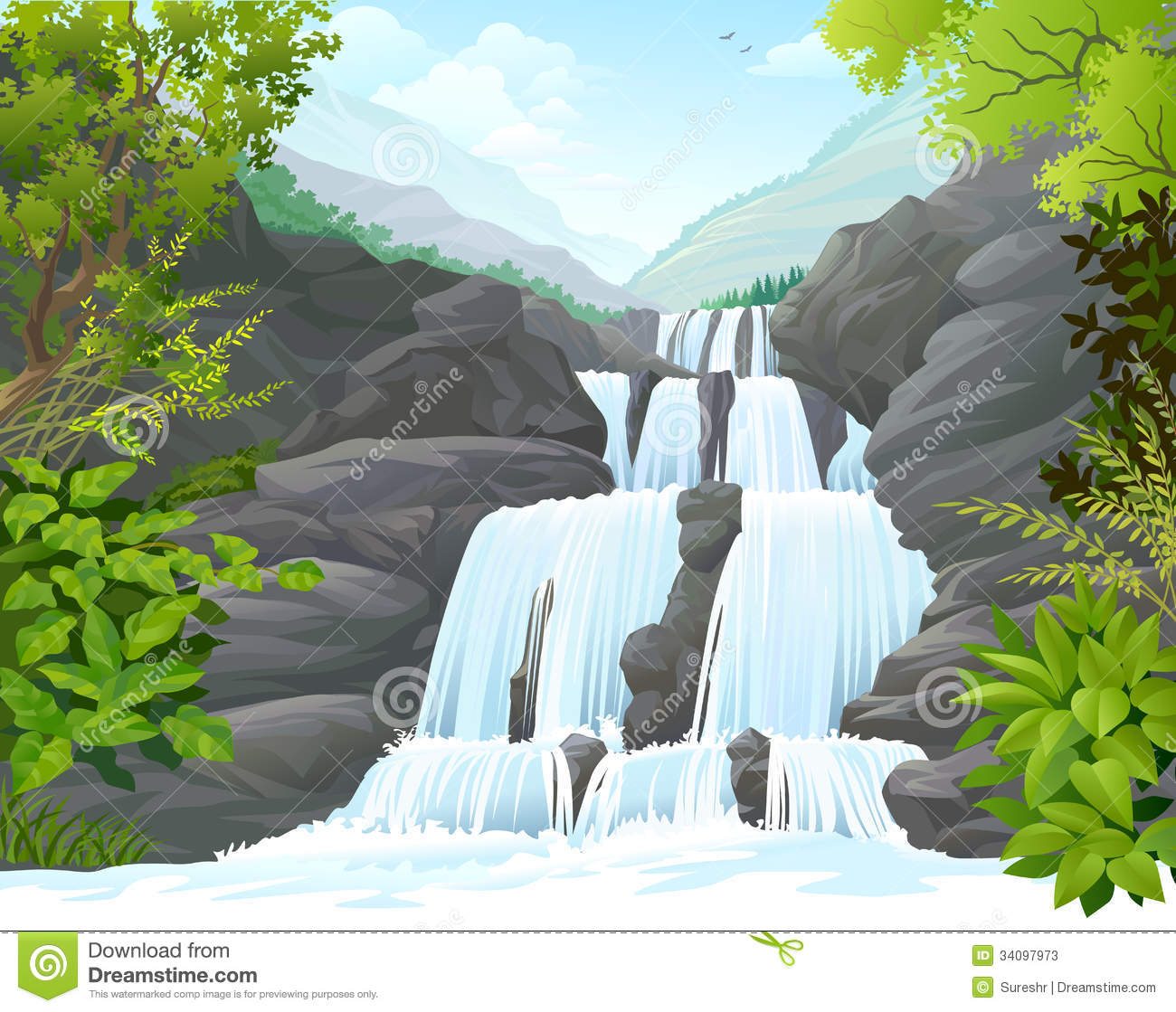 Wasserfall clipart #20, Download drawings