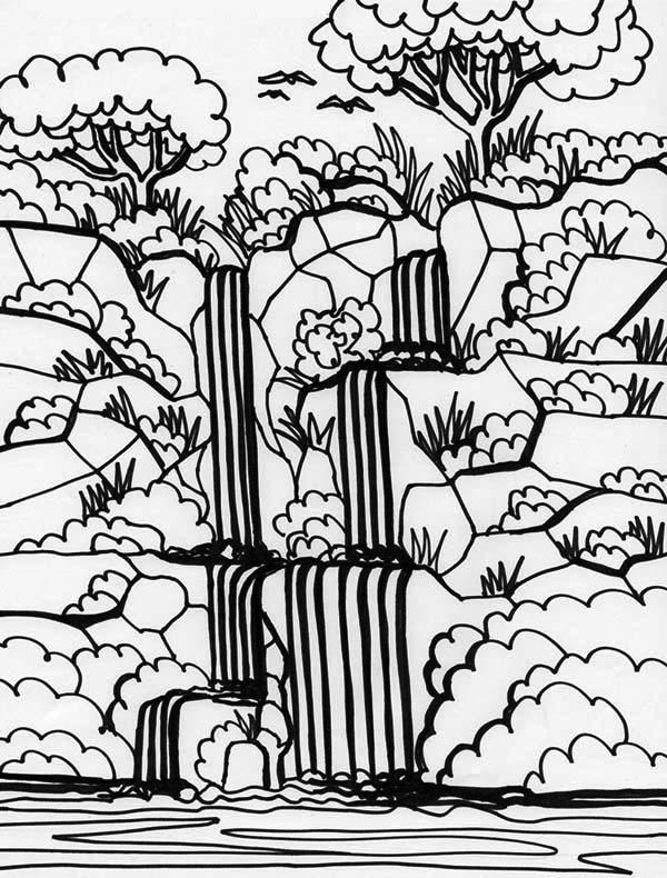 Waterfall coloring #7, Download drawings