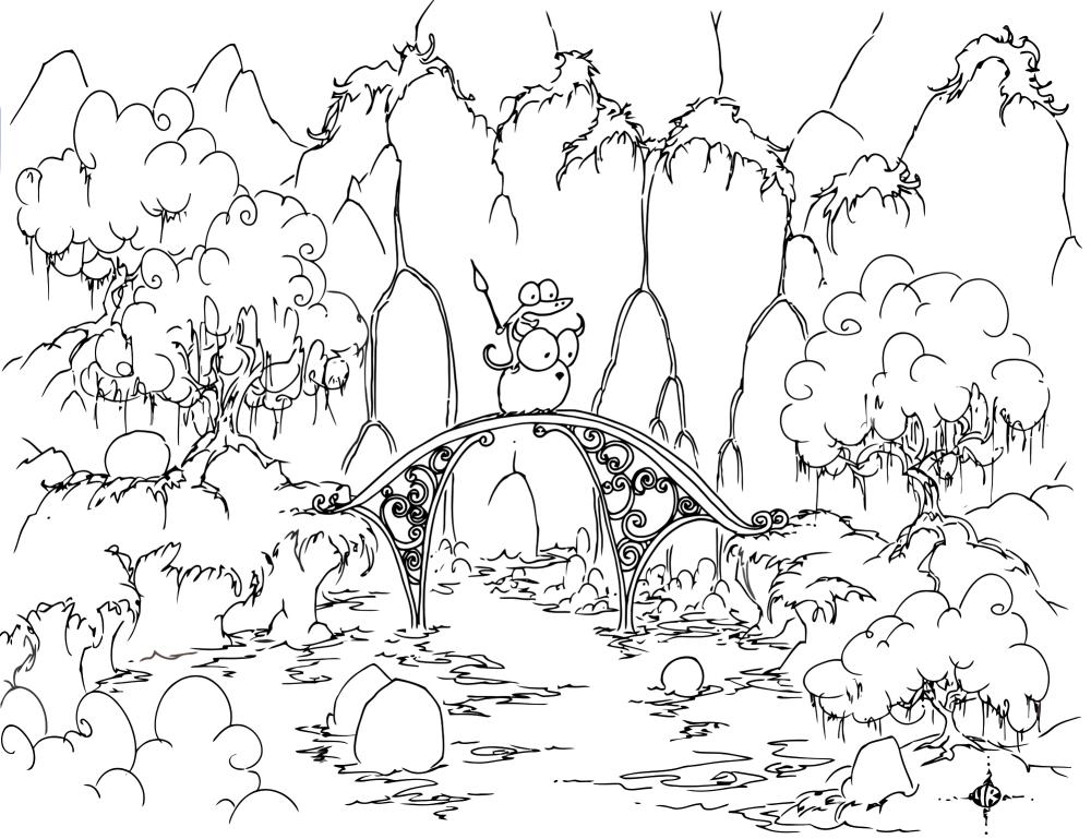 Waterfall coloring #2, Download drawings