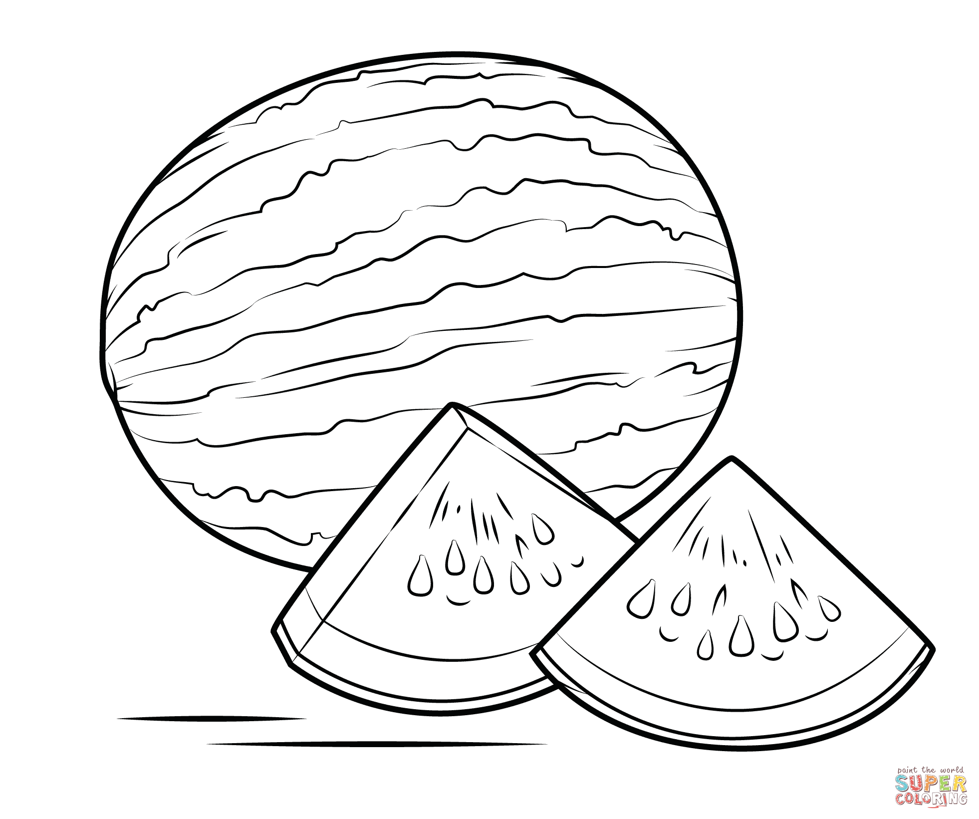 Watermelon coloring #8, Download drawings