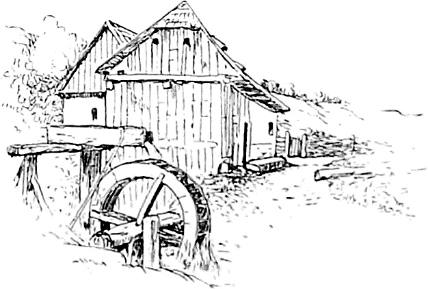 Watermill coloring #7, Download drawings