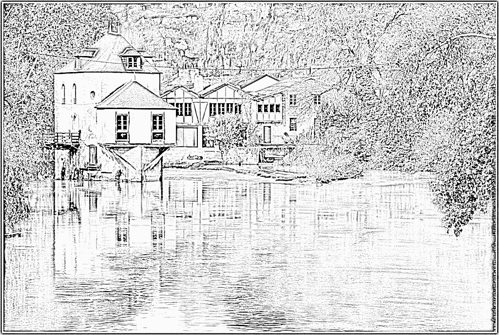 Watermill coloring #2, Download drawings