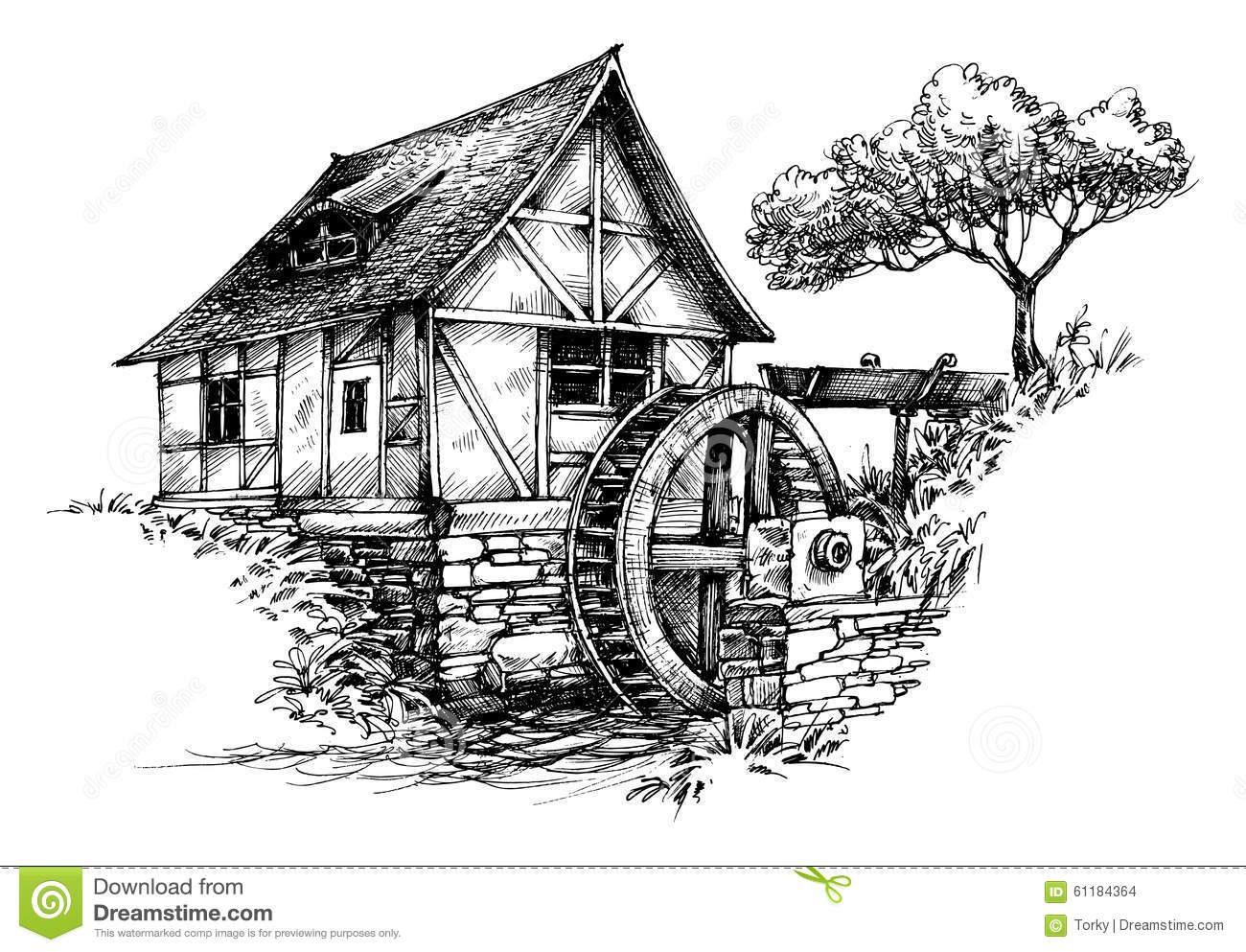Watermill coloring #12, Download drawings