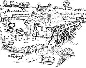 Watermill coloring #3, Download drawings