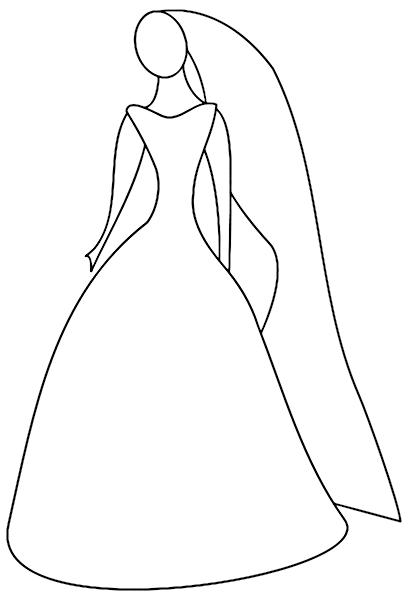 Wedding Dress coloring #7, Download drawings
