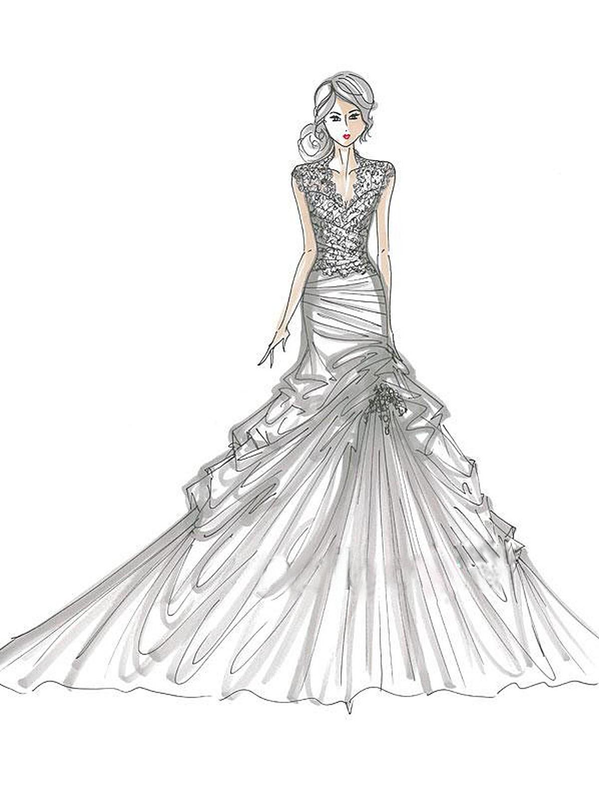 Wedding Dress coloring #5, Download drawings
