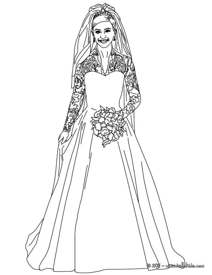 Wedding Dress coloring #9, Download drawings
