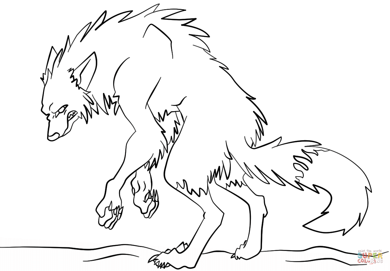 Werewolf coloring #4, Download drawings