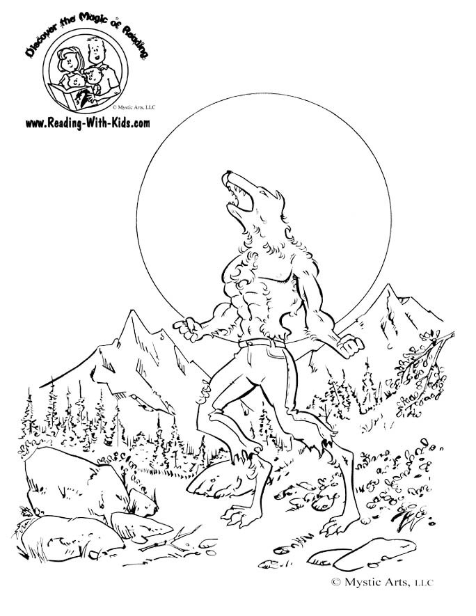 Werewolf coloring #8, Download drawings