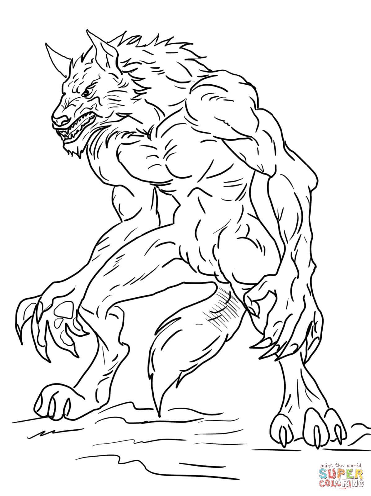 Werewolf coloring #1, Download drawings