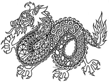 White Dragon coloring #4, Download drawings