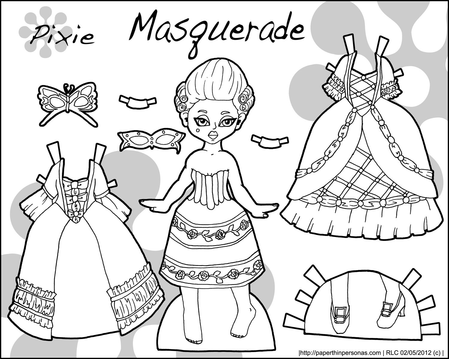 White Dress coloring #5, Download drawings