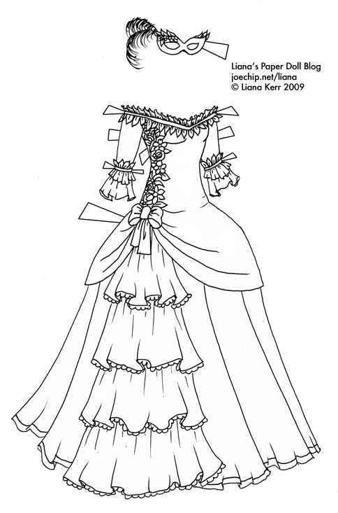 White Dress coloring #1, Download drawings