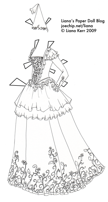 White Dress coloring #3, Download drawings