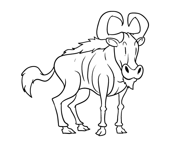 Wildebeest coloring #8, Download drawings