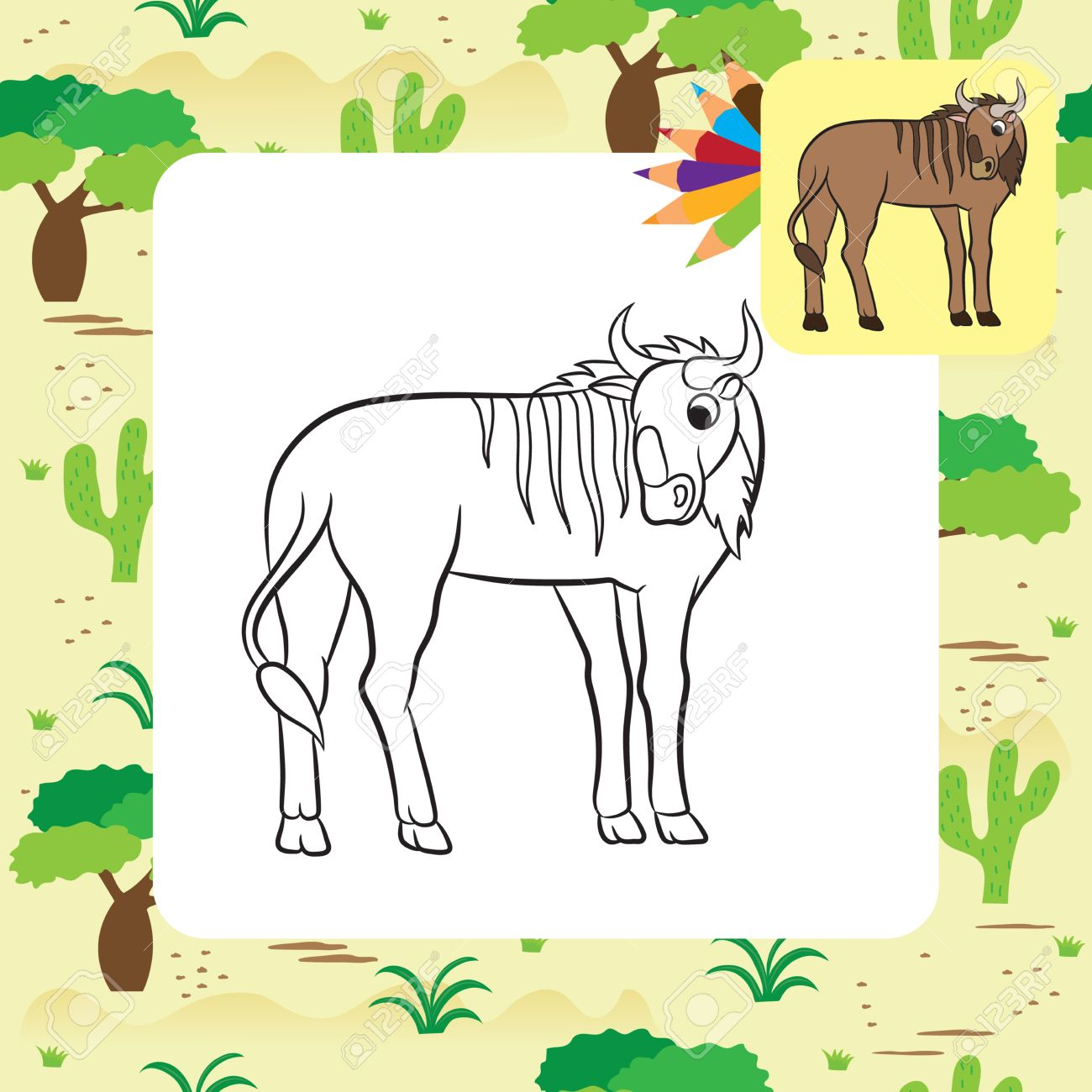 Wildebeest coloring #3, Download drawings