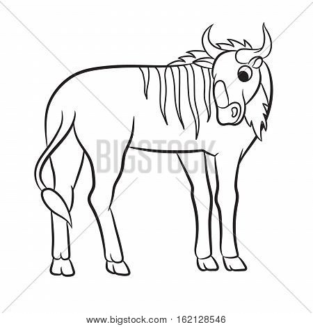Wildebeest coloring #1, Download drawings