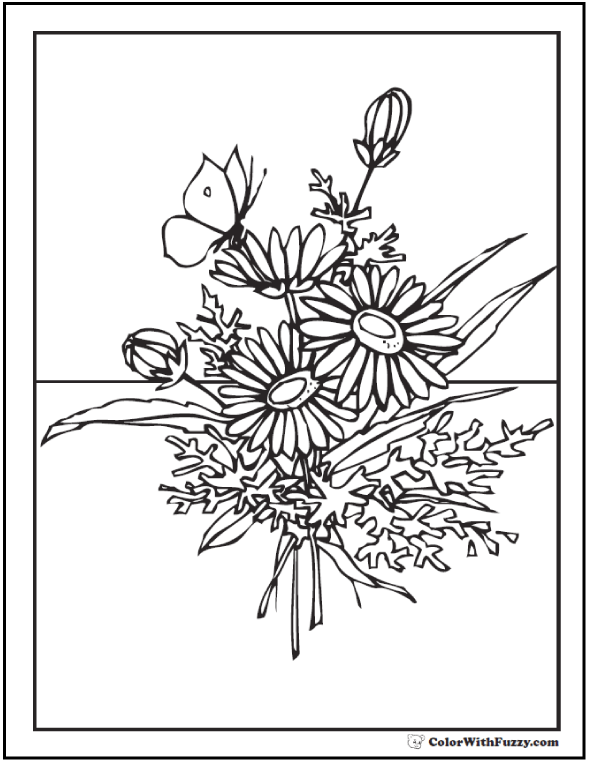 Wildflower coloring #7, Download drawings
