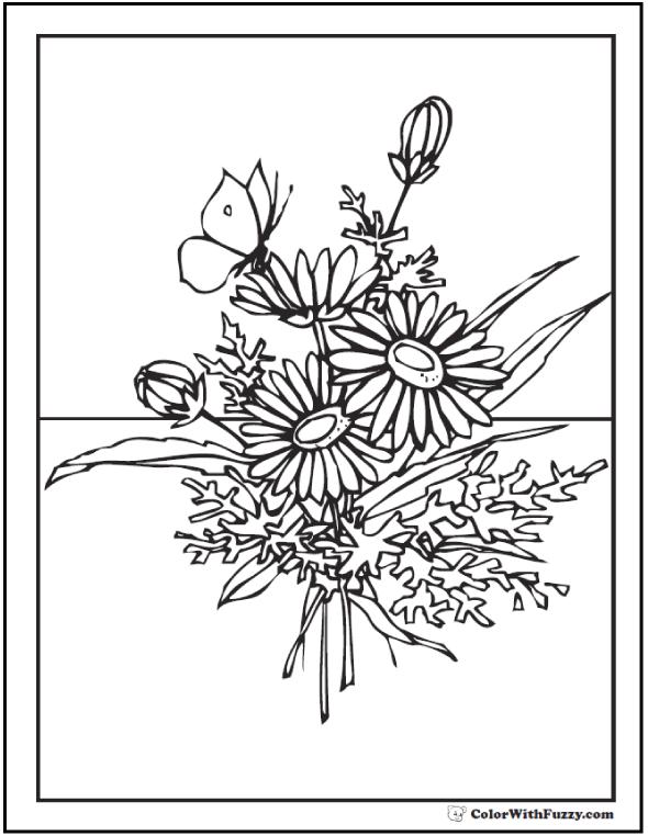 Wildflower coloring #14, Download drawings