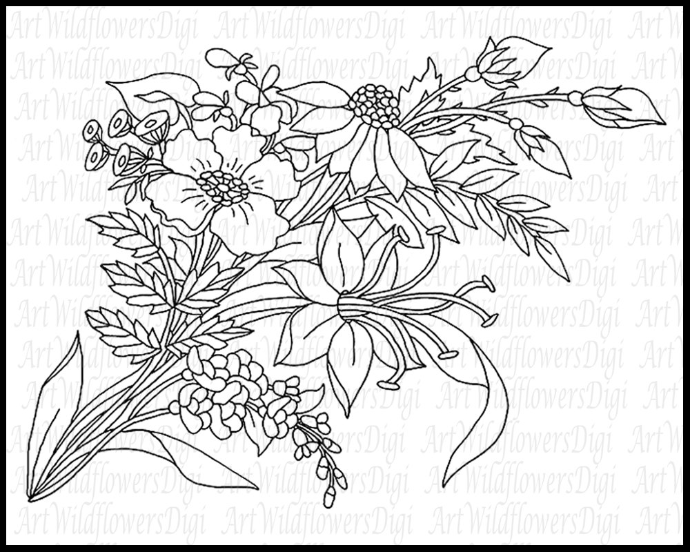 Wildflower coloring #16, Download drawings