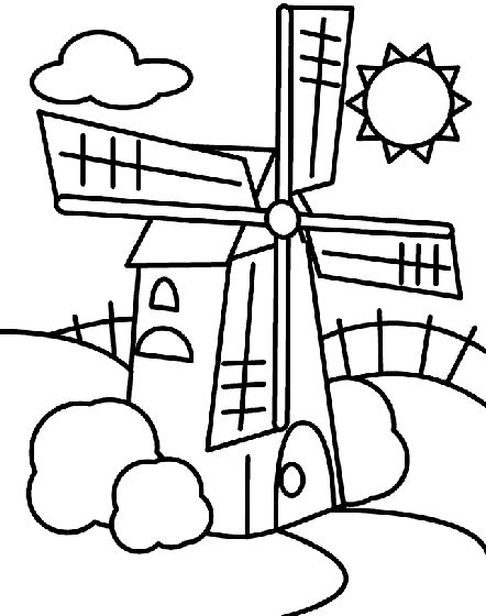 Windmill coloring #7, Download drawings