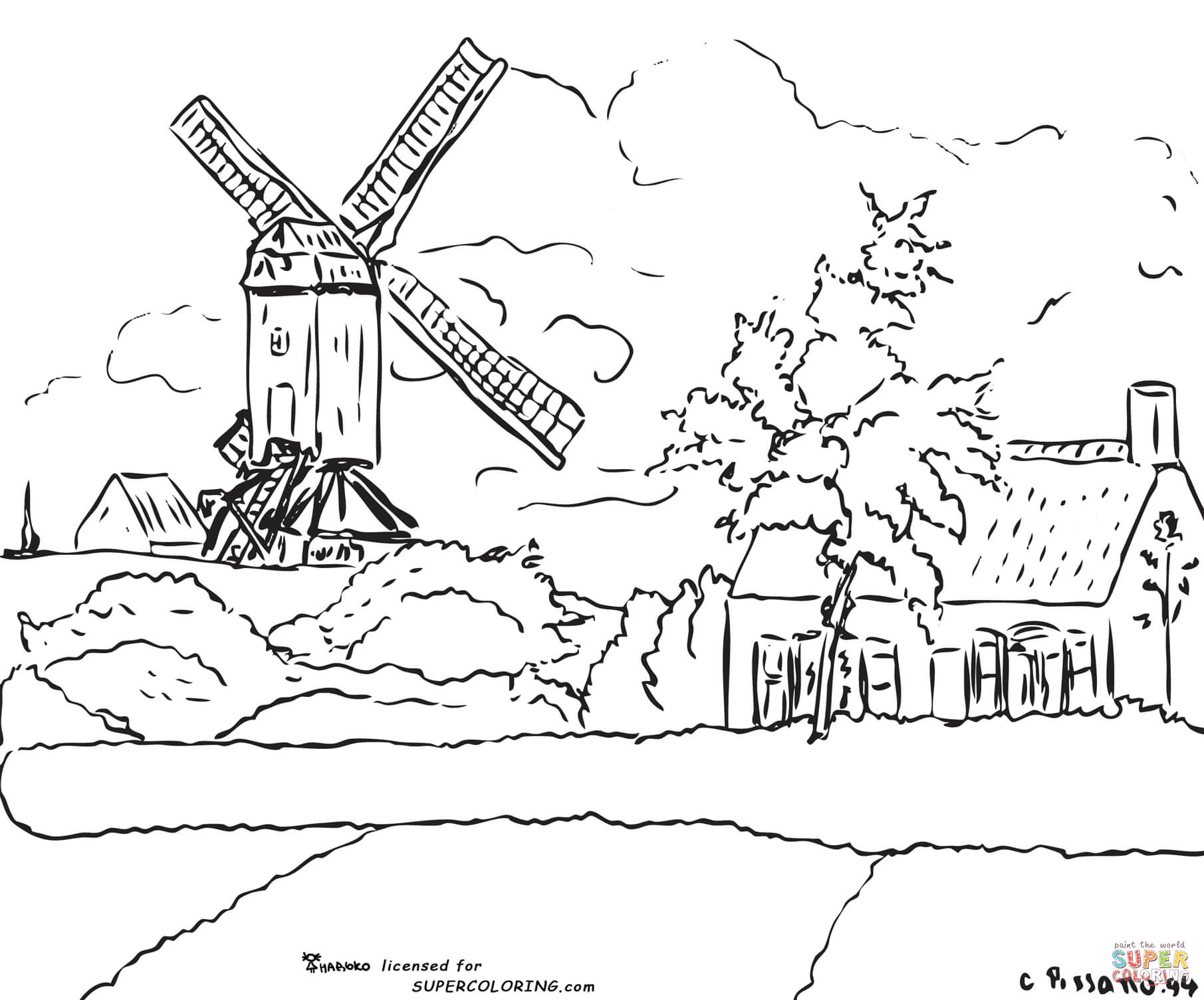 Windmill coloring #20, Download drawings