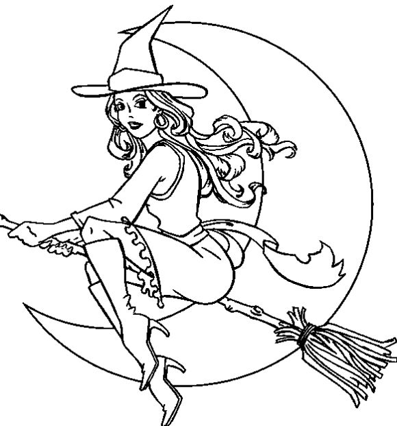 Witch coloring #1, Download drawings