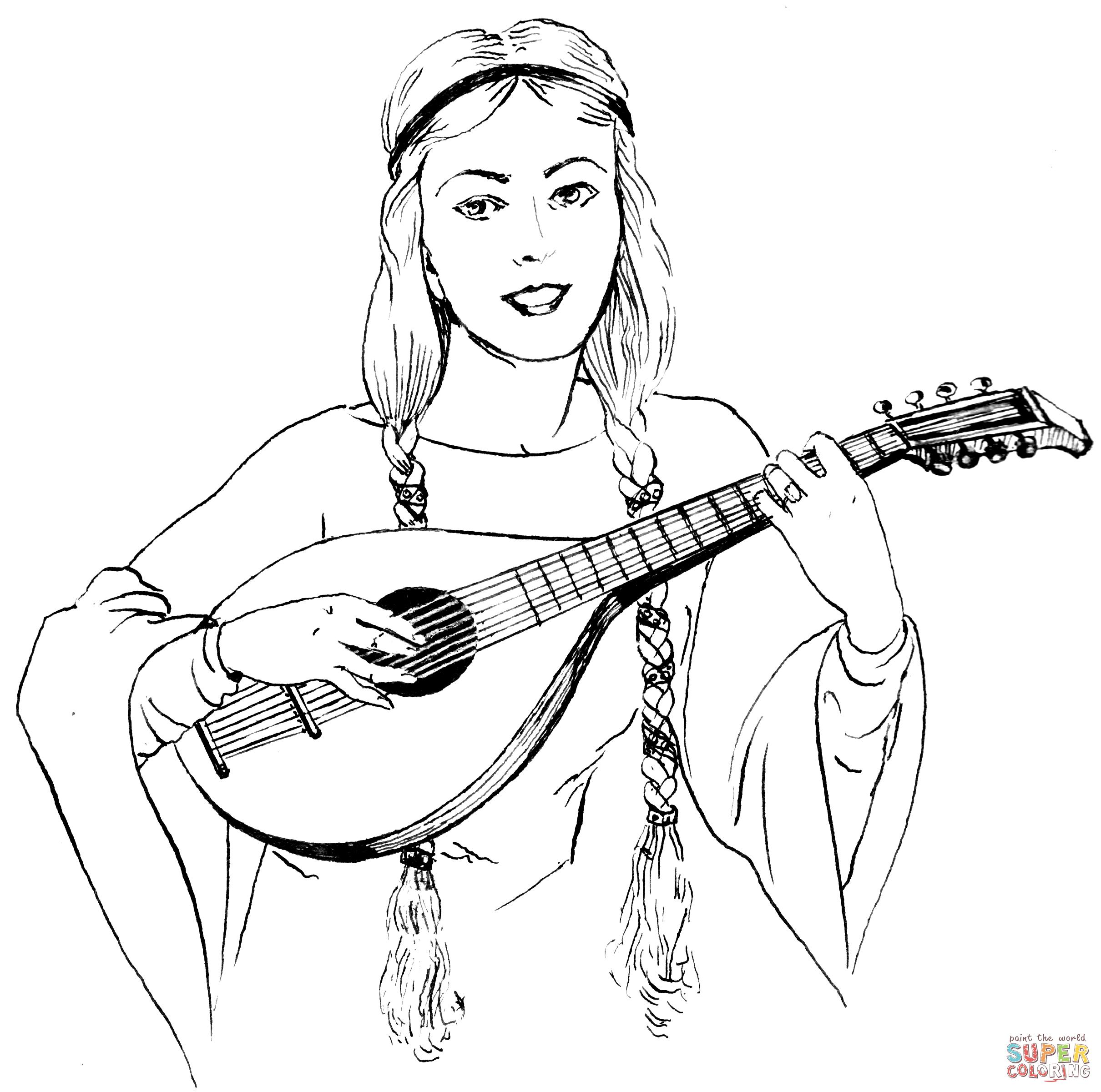 Lute coloring #5, Download drawings