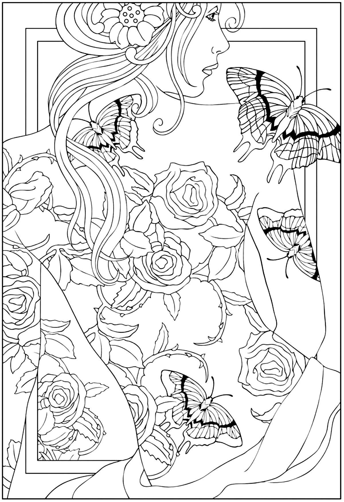 Women coloring #6, Download drawings