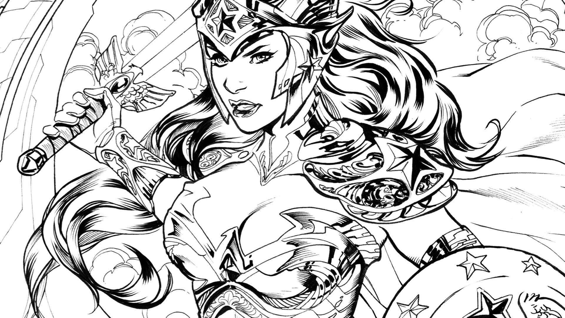 Wonder Woman coloring #3, Download drawings