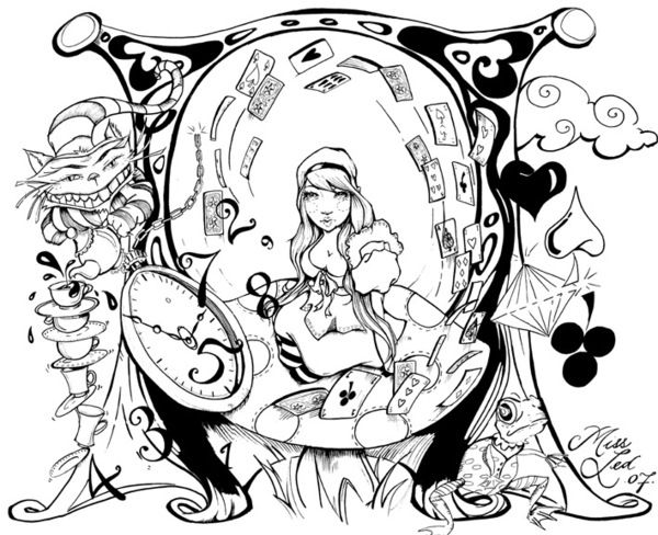 Wonderland coloring #4, Download drawings