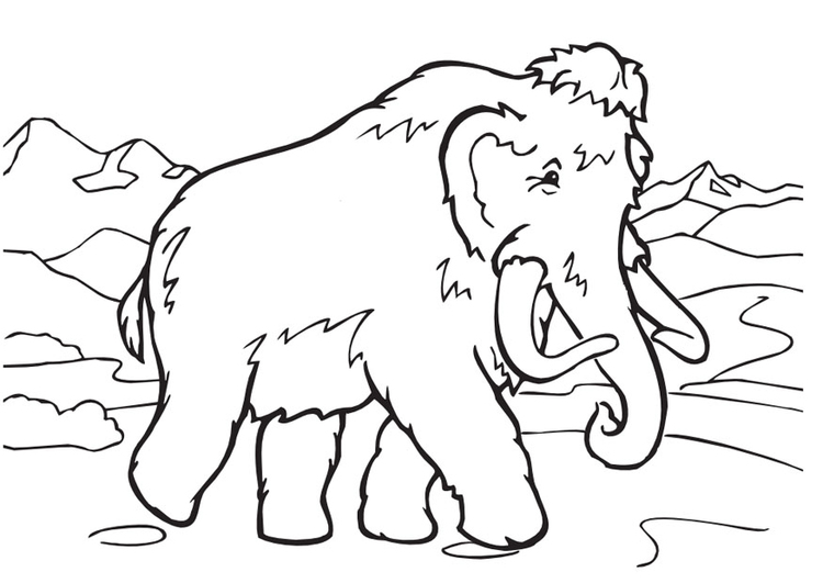 Woolly Mammoth coloring #4, Download drawings
