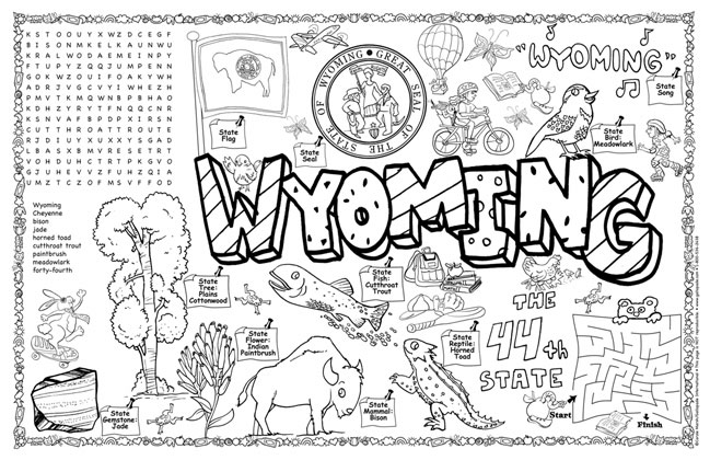 Wyoming coloring #4, Download drawings