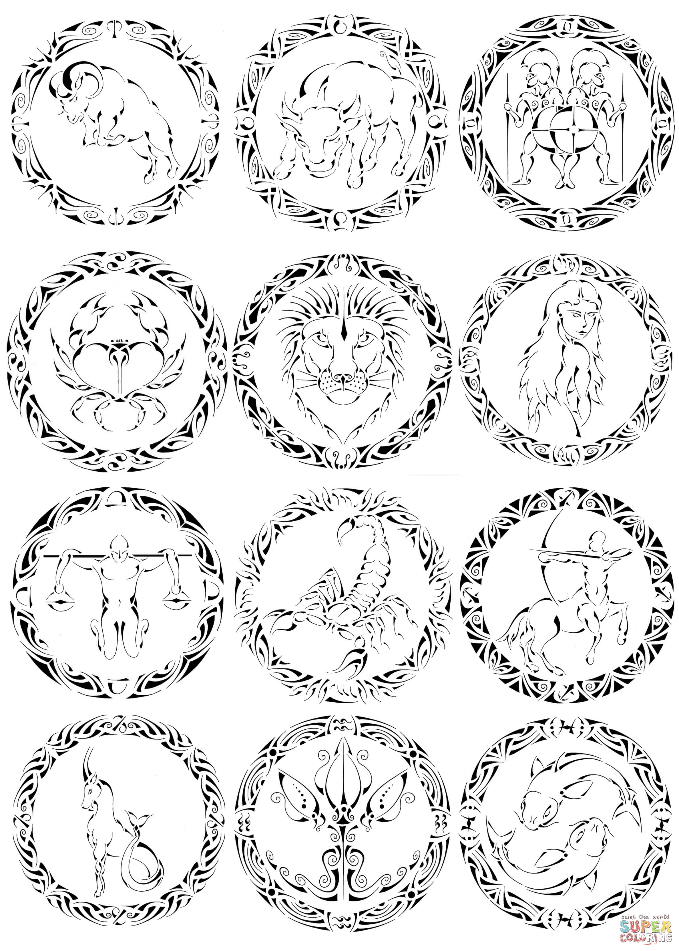 Zodiac Sign coloring #4, Download drawings