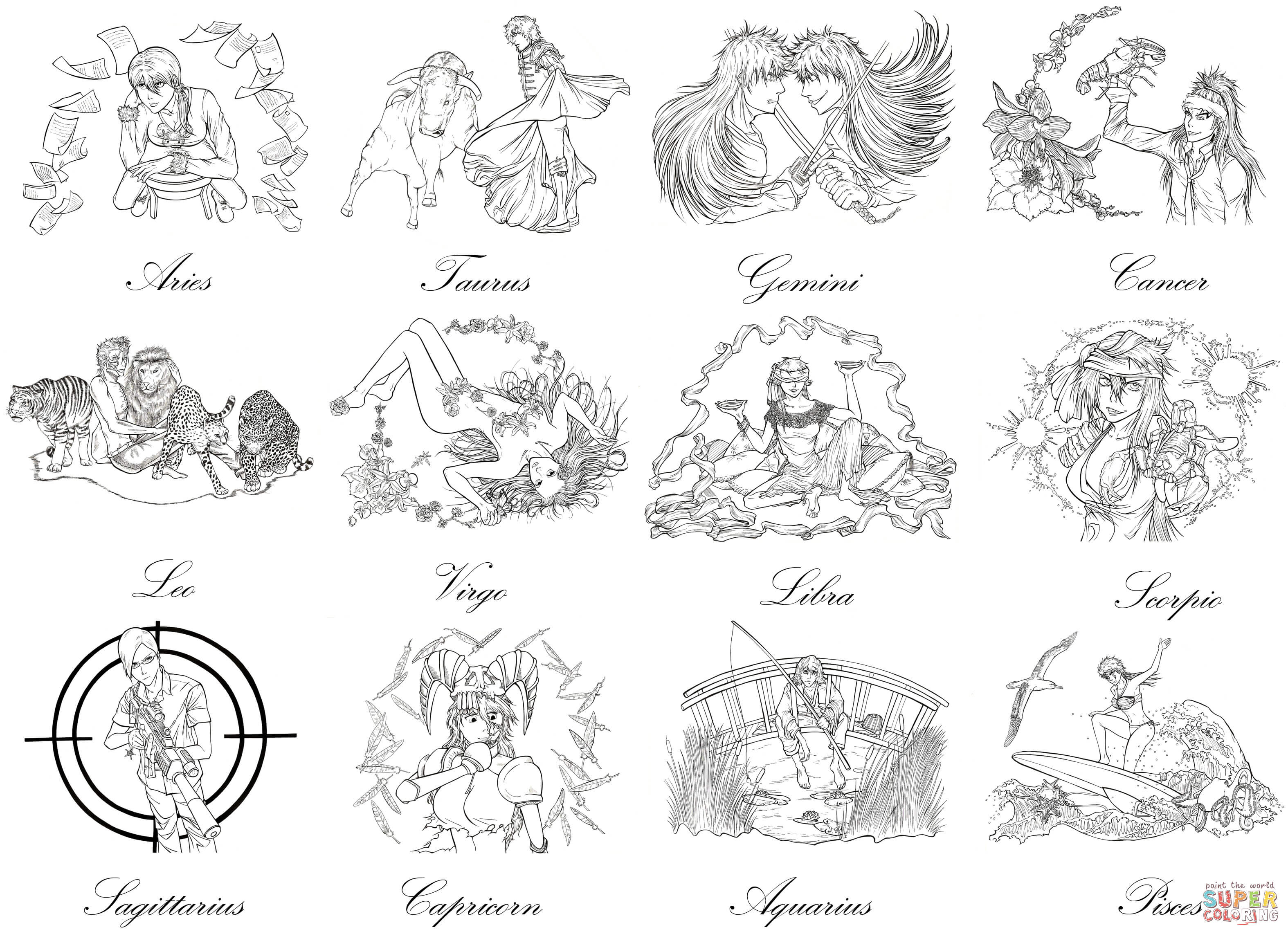 Zodiac Sign coloring #2, Download drawings