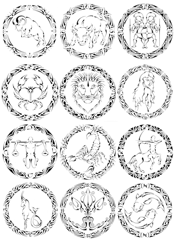 Zodiac Sign coloring #8, Download drawings
